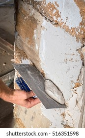 plaster wall process, coquina, repair