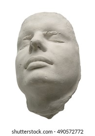 Plaster white man's face on a white background.