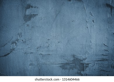 Plastered blue wall surface. Grunge background