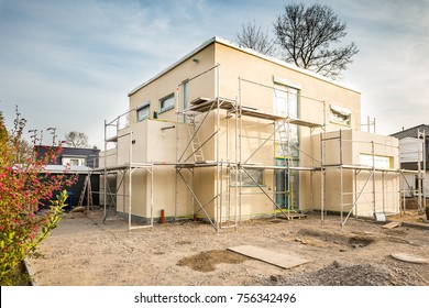 Plastered modern family home construction site