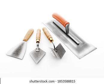 Plasterer's basic tools - stainless steel large trowel, small trowel, corner trowel and scraper on white background