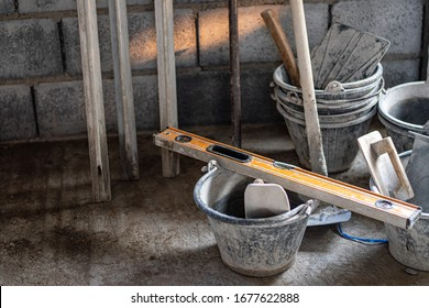Plastering equipment, construction tools, concrete plastering on the construction site