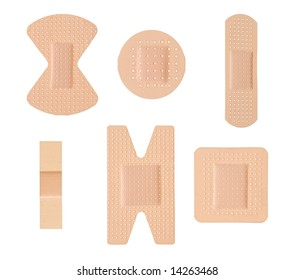 Plasters isolated [clipping path for all plasters]
