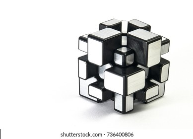 Plastic 3D Puzzle on White Background . Isolated Element