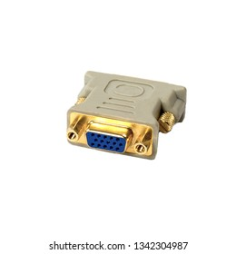 Plastic adapter gray VGA DVI with yellow pins over white background. Side view