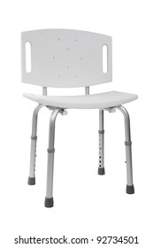 Plastic adjustable shower chair isolated on white