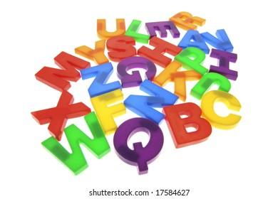 Plastic Alphabets on Isolated White Background