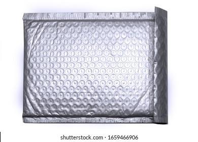 Bolsa de envolvente de plástico antiestático para envoltura de burbujas protectora sobre fondo blanco