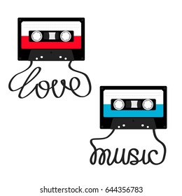 Plastic audio tape cassette with tape word Love Music. Retro icon set. Recording element. 80s 90s years. Red Blue color template. Flat design. White background. Isolated.