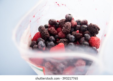 Plastic Bag with Assortment of Frozen Berries