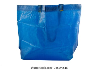 Plastic Bag, Blue plastic shopping bag,  Bag sacking isolated on white background, with clipping path.