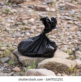 A plastic bag of dog waste sits along a desert trail waiting to be picked up and disposed of.