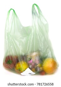 Plastic bag with fruits and vegetables