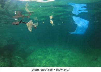Plastic bag garbage trash rubbish pollution in ocean