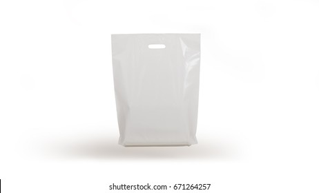 plastic bag isolated on white background, gravity