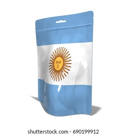 Plastic bag Made Argentina in 3D rendering