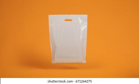 plastic bag on orange background, gravity
