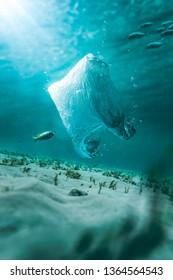 plastic bag polluting the ocean, photo composite