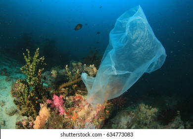Plastic bag pollution on underwater coral reef