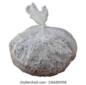 Plastic bag with shredded paper inside plastic bag isolated on white background