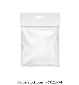Plastic bag template. White blank packaging 3d illustration