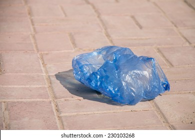 Plastic bag thrown on the street