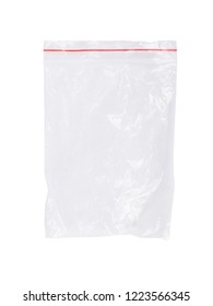 Plastic bag zipper closeup isolated on white background
