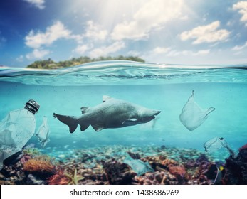 Plastic bags and bottles underwater in the ocean. Pollution problem causing damage in fish and coral reef.