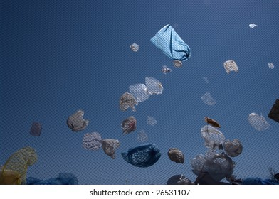 Plastic bags flew from a landfill
