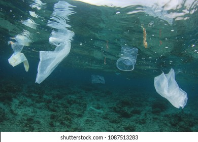 Plastic bags and straws pollution in ocean