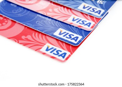 Plastic  bank cards.
