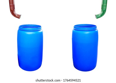 Plastic barrel and pipe for collecting rainwater isolated on white background.