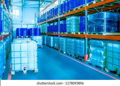 Plastic barrels for chemistry. Storage of chemicals. Plastic barrels. Chemical production. Large plastic barrels.