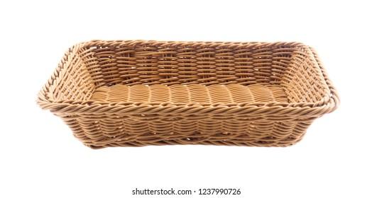 plastic basket isolated on white background.