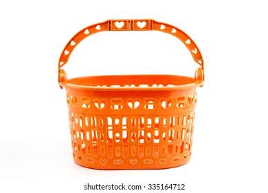 plastic basket on white background