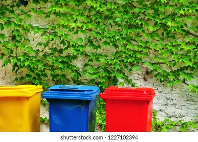Plastic bins for recycling, ecology and environment