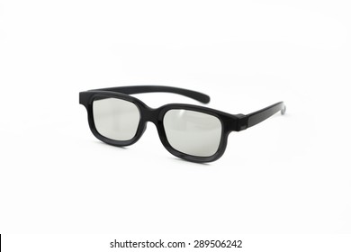 plastic black 3d-glasses on white background