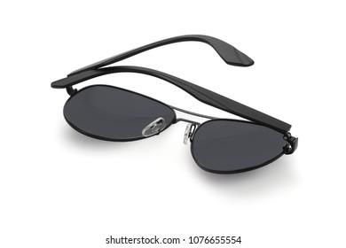 Plastic Black Sunglasses Lying on White Background