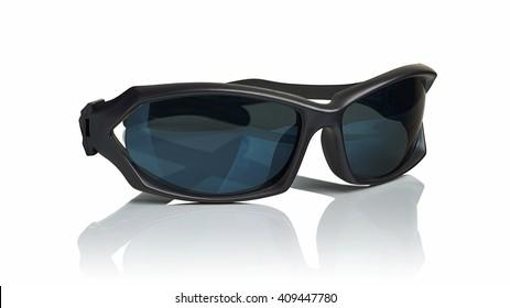 Plastic black sunglasses on a white background