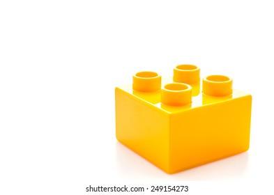 Plastic blocks toy isolated on white