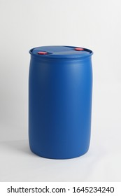 Plastic blue barrel. used in the chemical and petroleum industries for hazardous waste management,