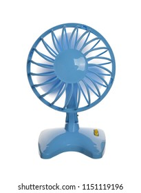 The plastic blue fan isolated on a white background.
