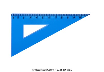 Plastic blue triangle for measuring centimes, millimeters and angles. Isolated on white.
