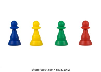 Plastic board game pieces, figures, pawns, puppets isolated on white background.