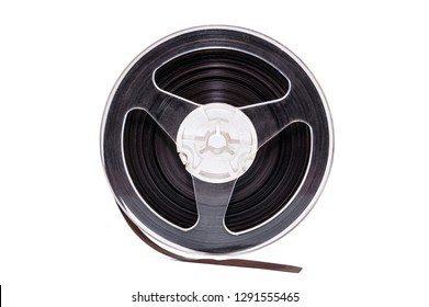 Plastic bobbin with magnetic tape isolated on white