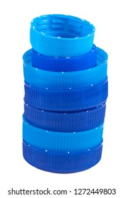 Plastic bootle caps pyramid on a white background