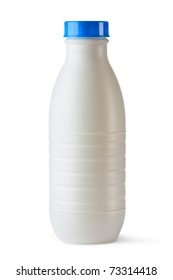Plastic bottle with blue lid for dairy foods. Isolated on white.