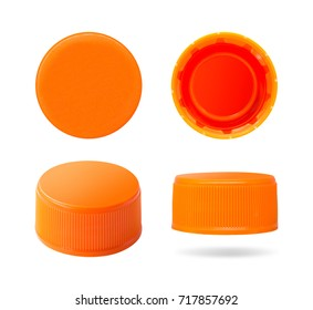 Plastic bottle cap isolated on white background. Group of beverage lid for your design. Clipping paths object. - Shutterstock ID 717857692