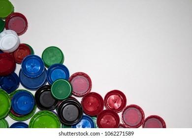plastic bottle caps color background