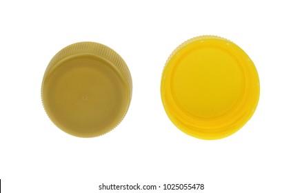 plastic bottle caps isolated on white background.